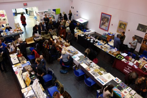 A bird's eye view of the OCAD U Annual Book Arts Fair on December 5, 2015.