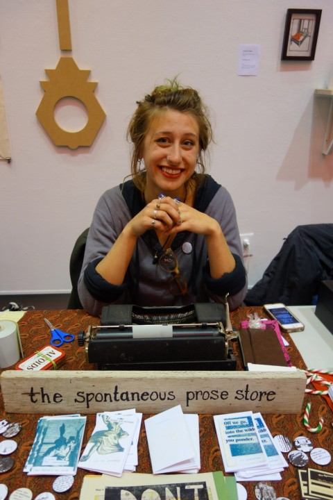 Kaile H. Glick of The Spontaneous Prose Store. Poetry made to order, while you wait.