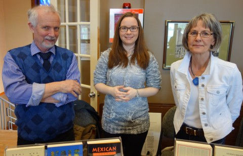Tim Inkster, Stephanie Small and Elke Inkster behind the book table.
