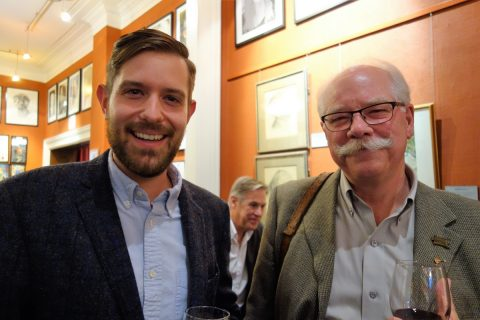 Grant Hurley of the Alcuin Society chats with engraver Wesley Bates.