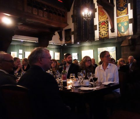 The head table, with David Carruthers (left), David Phillips (president of the Arts and Letters Club), Grant Hurley in the background and Denise Lapointe, right. Photo by Don McLeod.