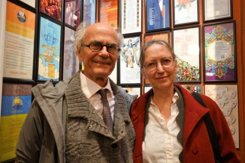 David Carruthers and Denise Lapointe of the Papeterie Saint-Armand, Montreal. The Alcuin Society awarded them the 2017 Robert R. Reid Award and Medal for lifetime achievement or extraordinary contributions to the book arts in Canada.