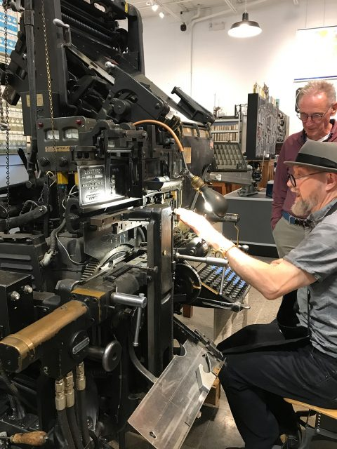 George Walker on the linotype