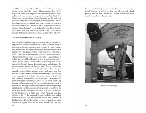 Spread featuring portrait of Rollin Milroy and text of the interview