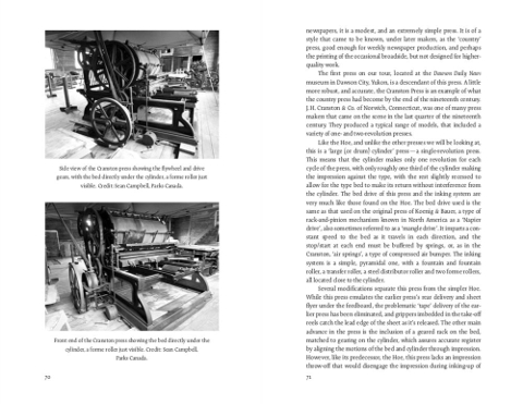 Spread featuring cylinder presses as well as text from Stephen Sword's Essay