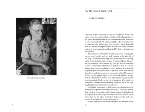 DA86 spread featuring photo of Bill Poole and beginning of essay on his work.