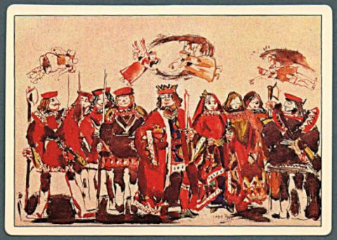 sample card from the David B. Milne Playing Card Project featuring a watercolour of various king, queen and knave images used on the face cards.