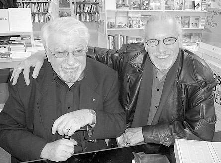 Frank Newfeld (l) and Dennis Reid at David Mirvish Books on Art (Toronto). October, 2008. Photo by Don McLeod.