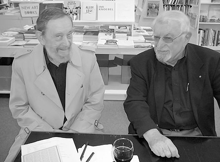 Guy Upjohn (l) and Frank Newfeld at David Mirvish Books on Art (Toronto). October, 2008. Photo by Don McLeod.