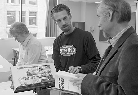 Susan Colberg (l), Jason Dewinetz and Tim Inkster (r) judging the 26th Annual Alcuin Society Awards for Excellence in Book Design in Canada. Vancouver. April, 2008. Photo by Jason Vanderhill.