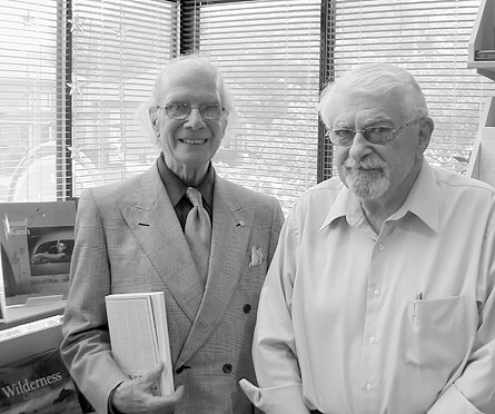 Bill Toye (l) and Frank Newfeld at A Different Drummer Books (Burlington). September, 2008. Photo by Richard Bachmann.