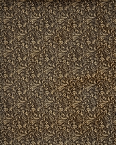 brown endpaper with beige floral pattern