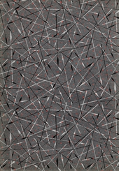 grey endpaper with pattern of black and pale grey arrows and red dots