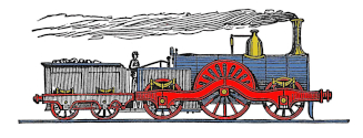train engraving colourized