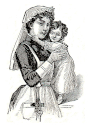 woman holding child engraving
