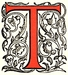 Initial T engraving