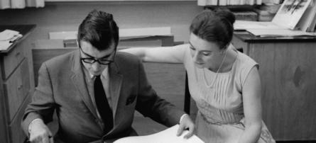 Allan Fleming (l) and Lorraine Monk, Toronto 1967