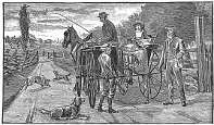 horse and buggy ride engraving