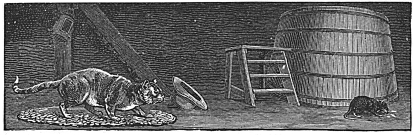 barn cat stalking mouse engraving