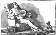 sitting man and cat engraving