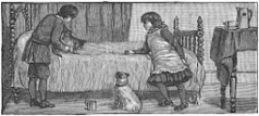 bed, dog, children engraving