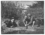 boys fishing, engraving